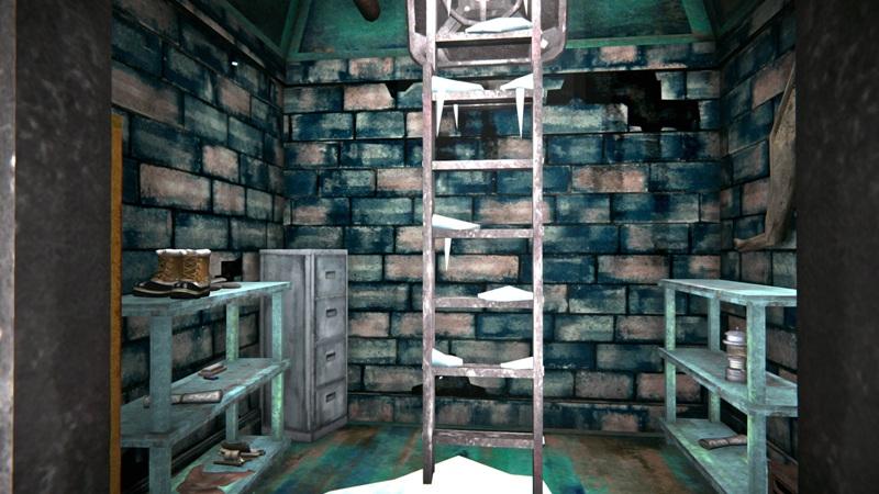 Бункер с одеждой в игре The long dark (вид на выход)