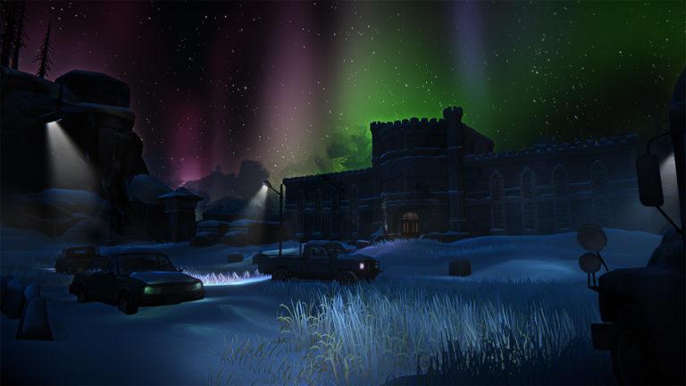 Северное сияние освещает тюрьму Черной горы в The long dark