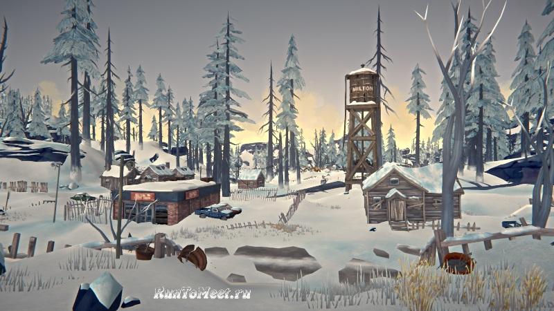 Вид с крыльца дома Серой Матери в Милтоне в игре The long dark