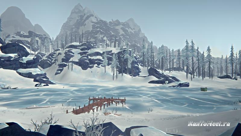 Вид на озеро от Хижины альпиниста на Волчьей горе в игре The long dark