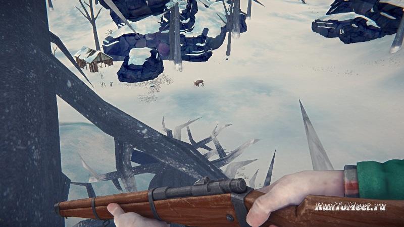 Охота на Лося с упавшего дерева, на Загадочном озере, в игре The long dark