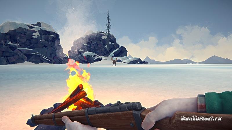 Охота на Лося около горящего костра, в игре The long dark