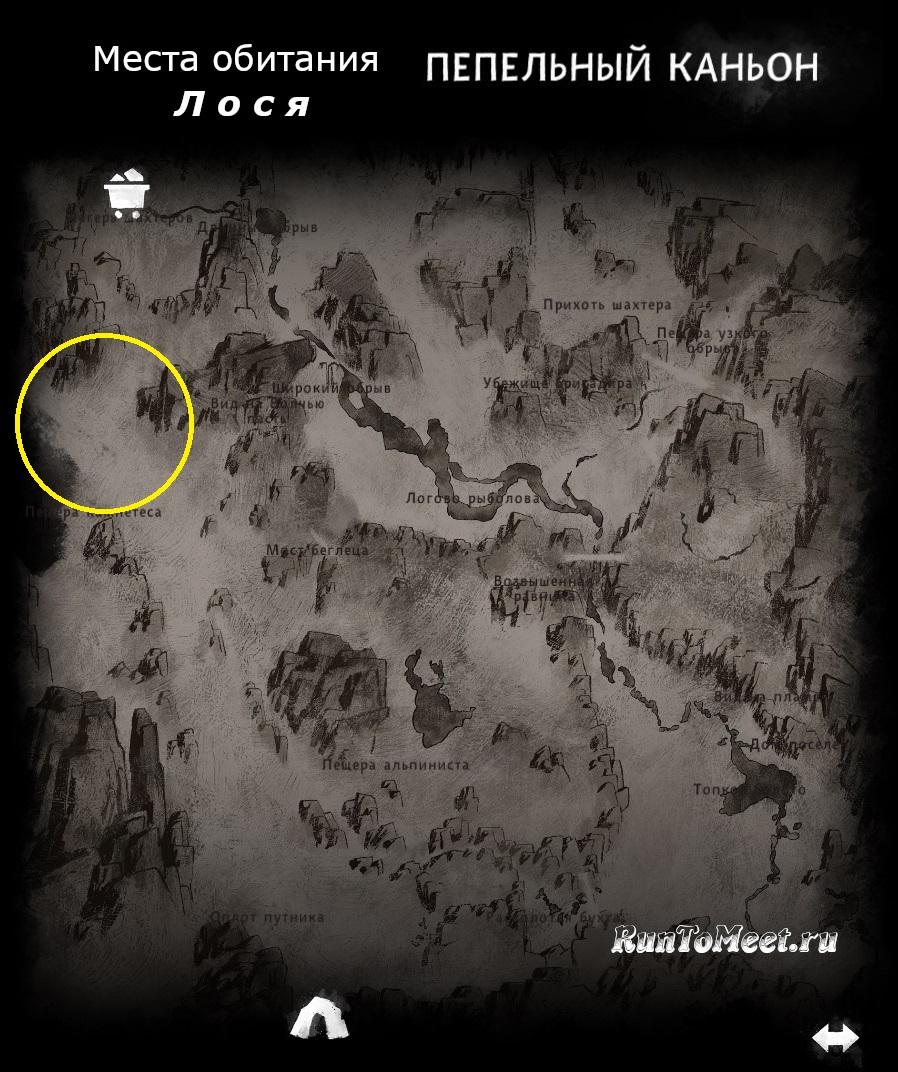 Места обитания лося, на карте локации Пепельный каньон, в игре The long dark