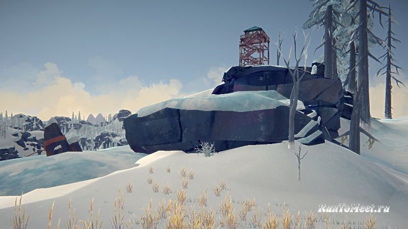 Место крепления троса, возле дома Философа, на Бледной бухте, в The long dark