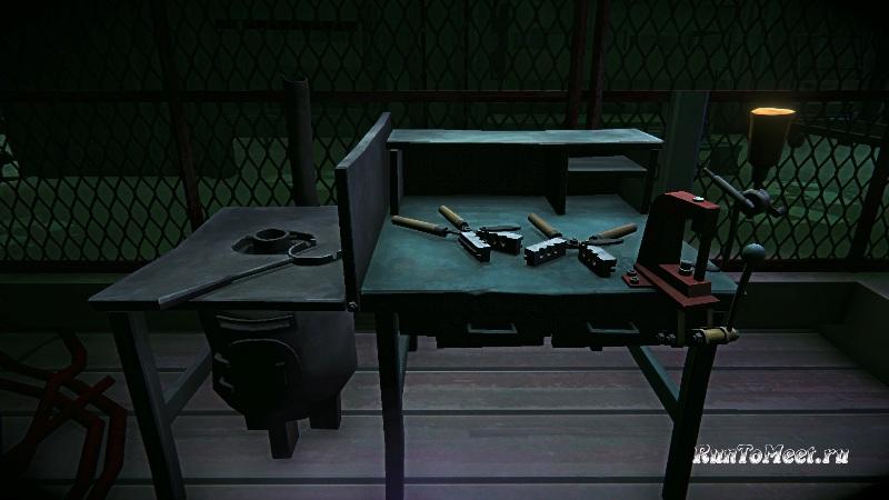 Верстак для создания патронов, в мастерской, на консервном заводе, в игре The long dark