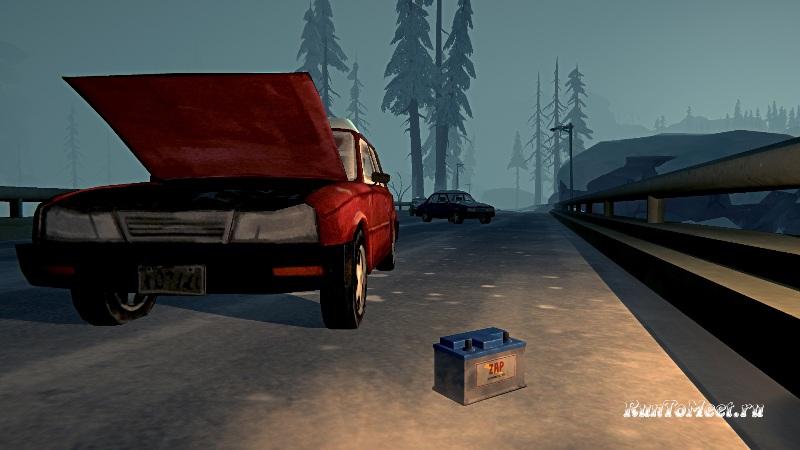 Автомобильный аккумулятор на длинном мосту, в игре The long dark