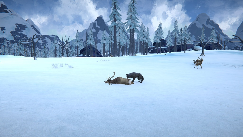 Волк ест убитого оленя в игре The long dark