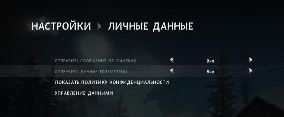 Разрешить отправлять телеметрию и сообщения об ошибках в игре The long dark (Fearless Navigator)