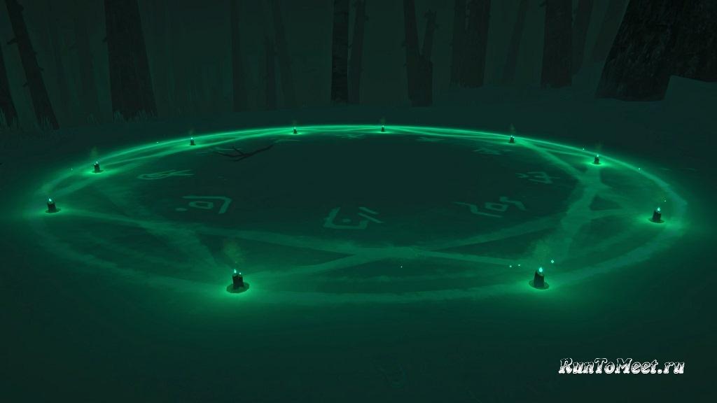 Защитный круг в испытании Escape the darkwalker игры The long dark
