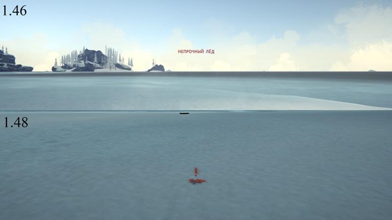 Сравнение уведомлений 'Непрочный лед' в версиях The long dark 1.46 и 1.48