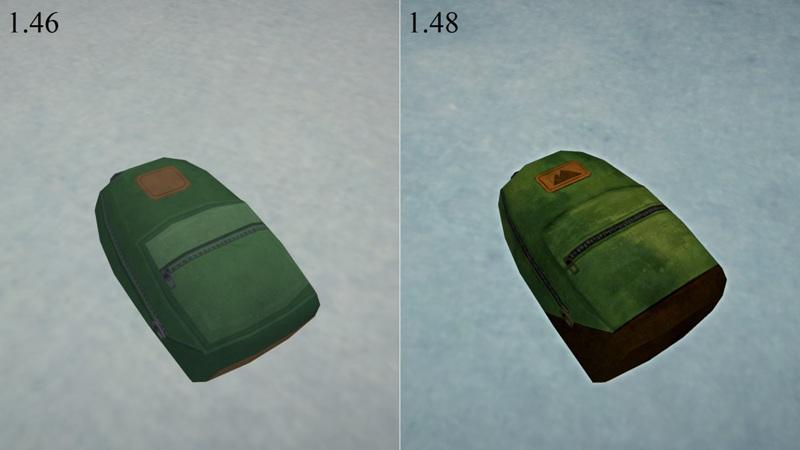 Сравнение внешнего вида рюкзака в версиях The long dark 1.46 и 1.48