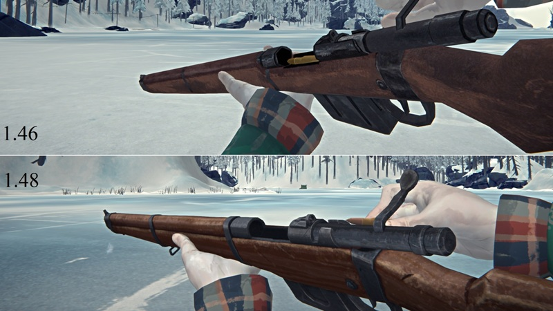Сравнение внешнего вида ружья в версиях The long dark 1.46 и 1.48