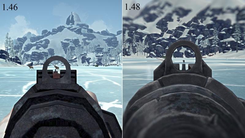 Сравнение прицела ружья в версиях The long dark 1.46 и 1.48