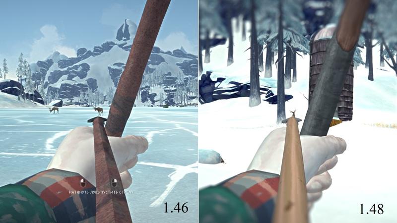 Сравнение процесса прицеливания из лука в версиях The long dark 1.46 и 1.48