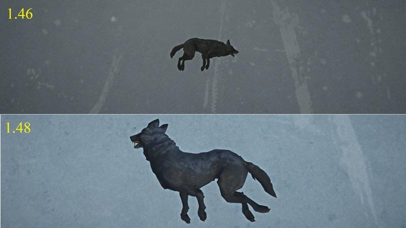 Сравнение туши волка в игре The long dark версии 1.46 и 1.48