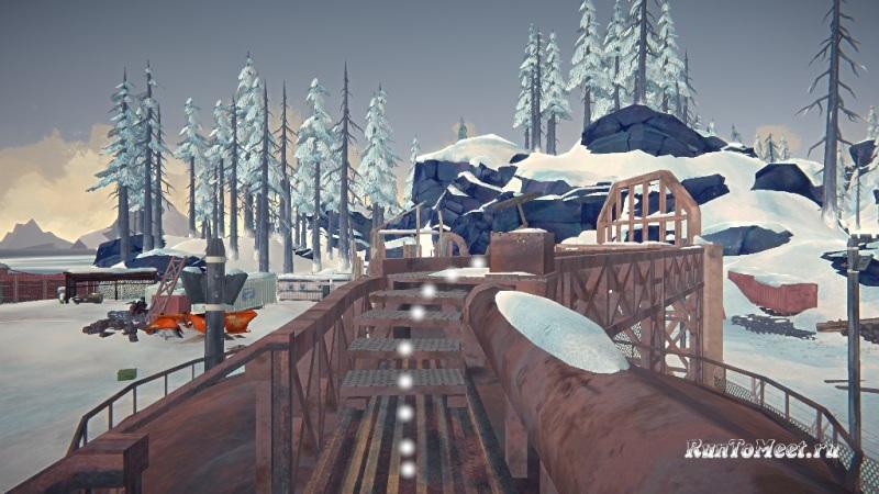 Путь к мастерской со станками, на заводе Бледной бухты, в The long dark. Шаг 9