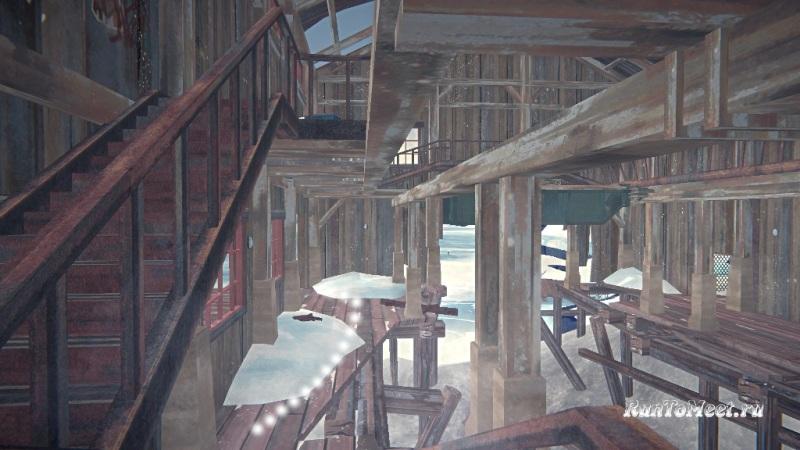 Путь к мастерской со станками, на заводе Бледной бухты, в The long dark. Шаг 19