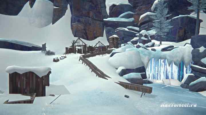 Водопад около шахтерского поселка в Пепельном каньоне игры The long dark