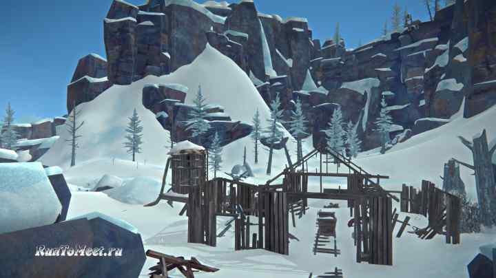 Разрушенный шахтерский поселок в Пепельном каньоне игры The long dark