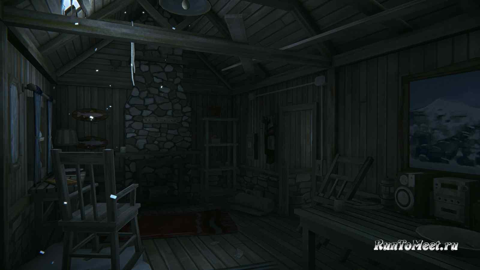 Интерьер дома, возле Нижних водопадов Ворона, на Бледной бухте, в игре The long dark