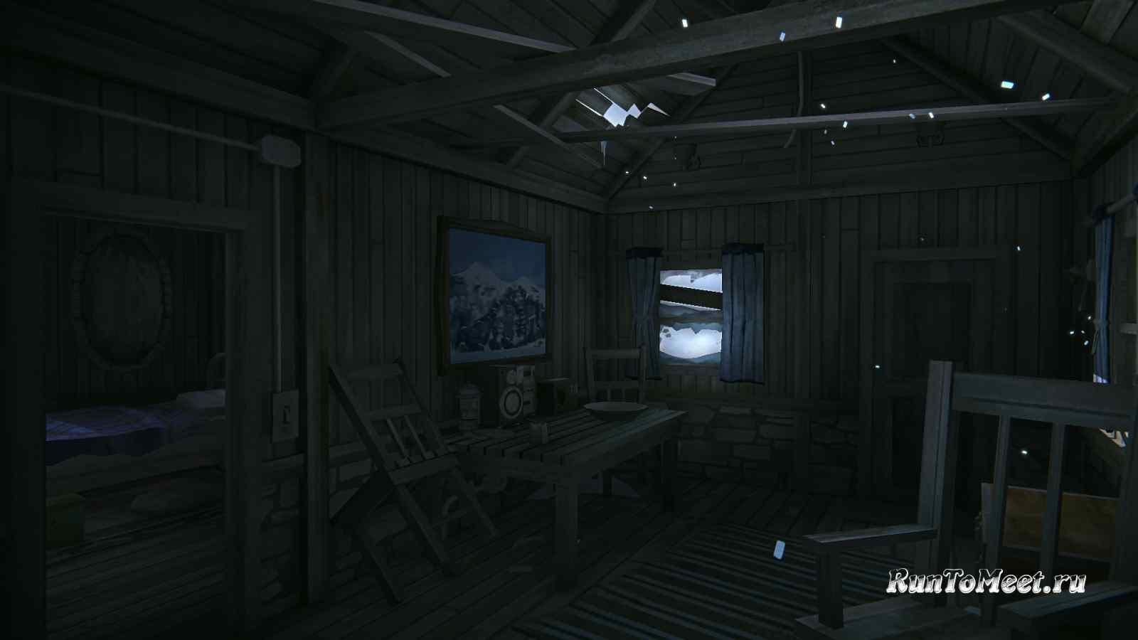 Интерьер домика, возле Нижних водопадов Ворона, на Бледной бухте, в игре The long dark