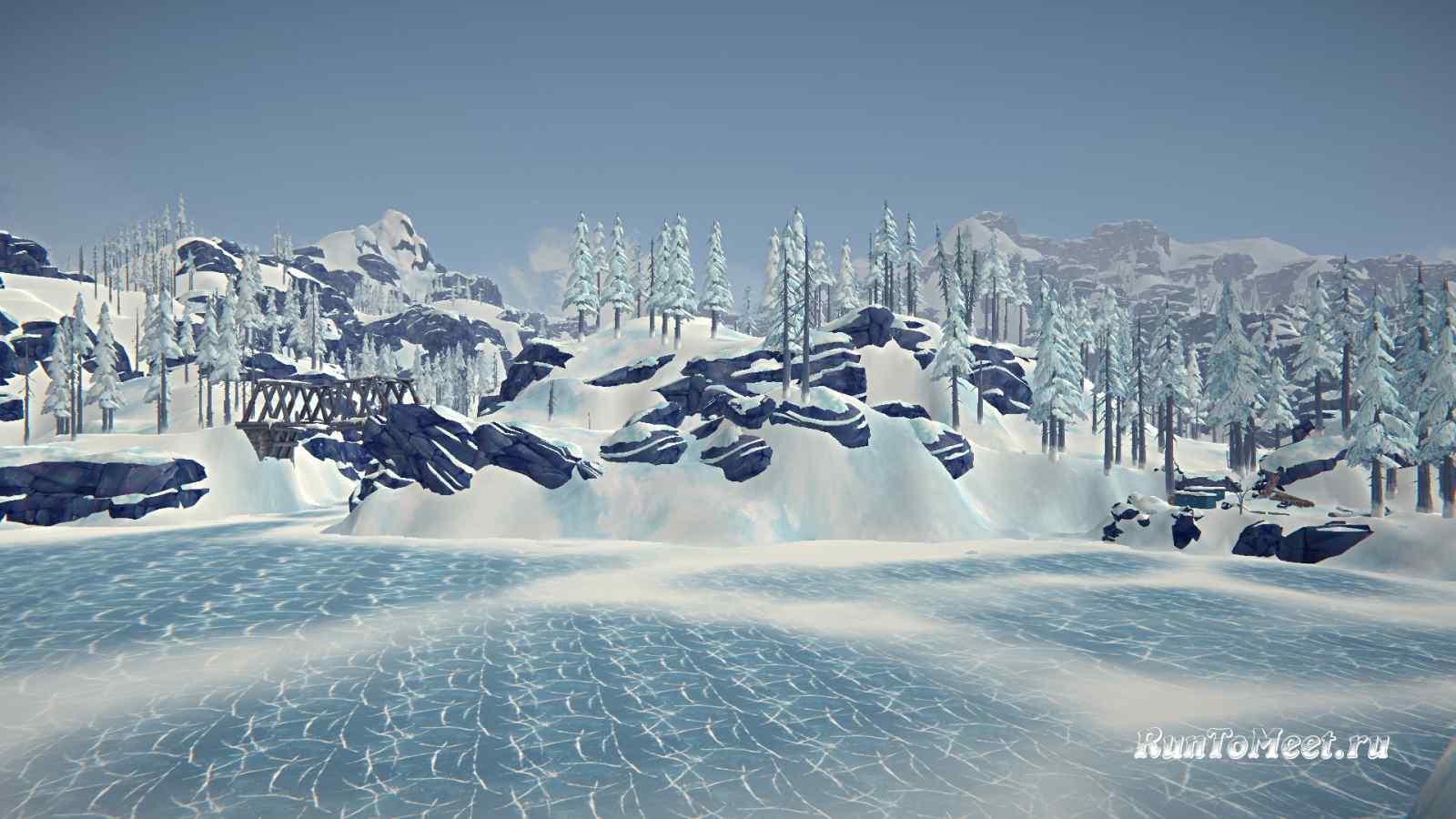 Вид с острова на Остановку и Вагончики, Бледной бухты, в игре The long dark