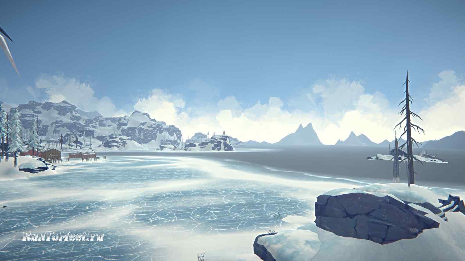 Вид с острова на береговую линию, Бледной бухты, в игре The long dark