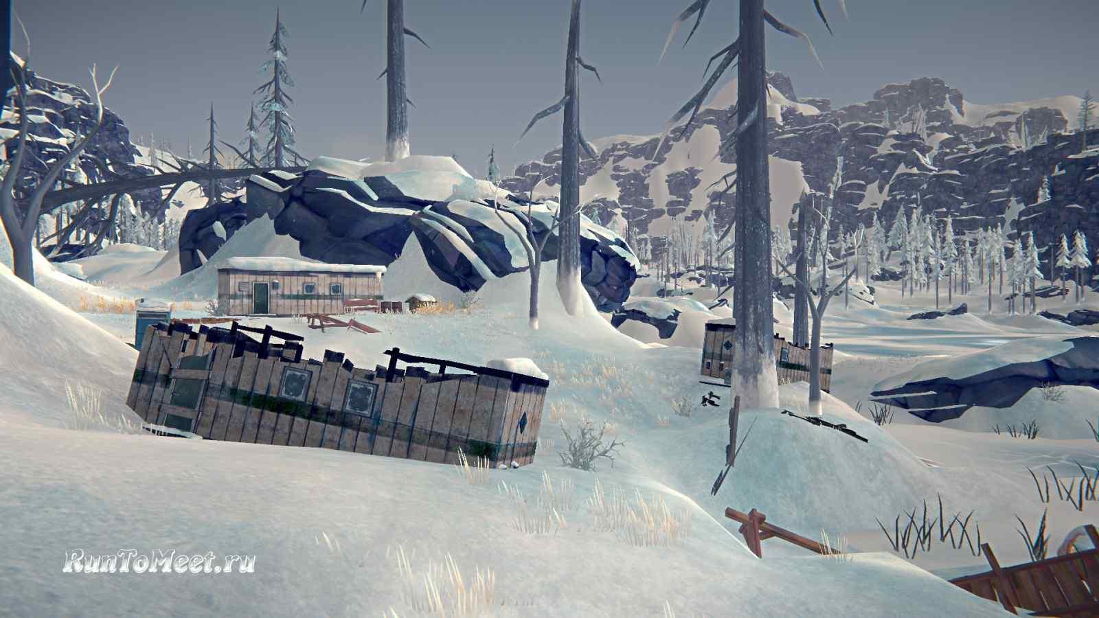 Разрушенные вагончики, на локации Бледная бухта, в игре The long dark
