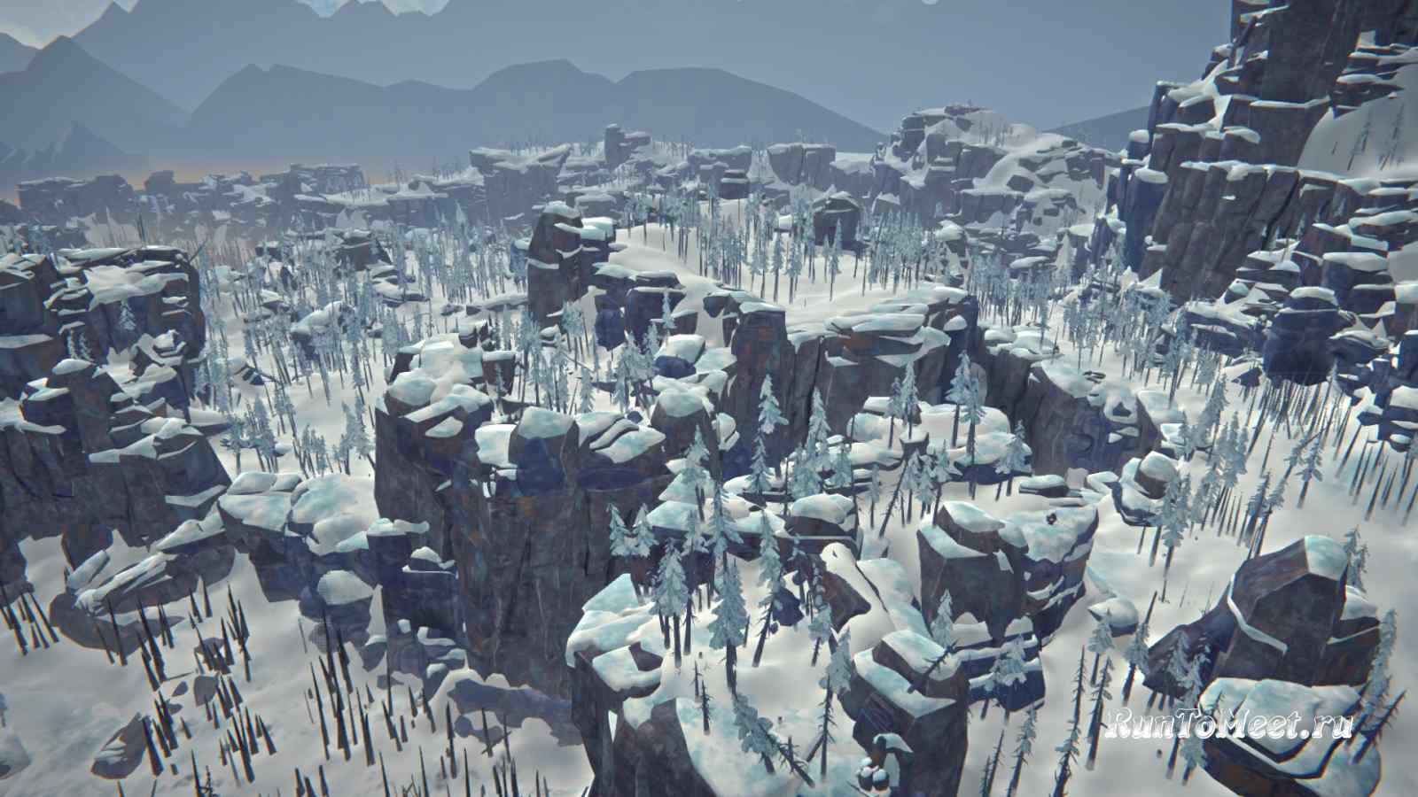 Панорама с вида на Волчью пасть в Пепельном каньоне игры The long dark