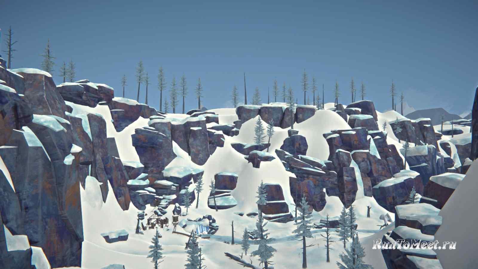 Вид на шахтерский поселок в Пепельном каньоне игры The long dark