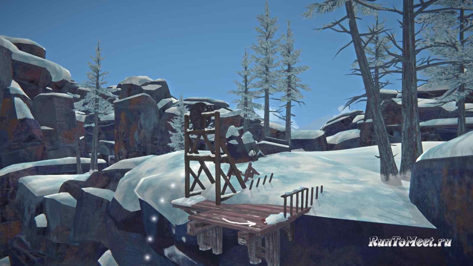 Канат возле спуска к шахтерскому поселку в Пепельном каньоне игры The long dark
