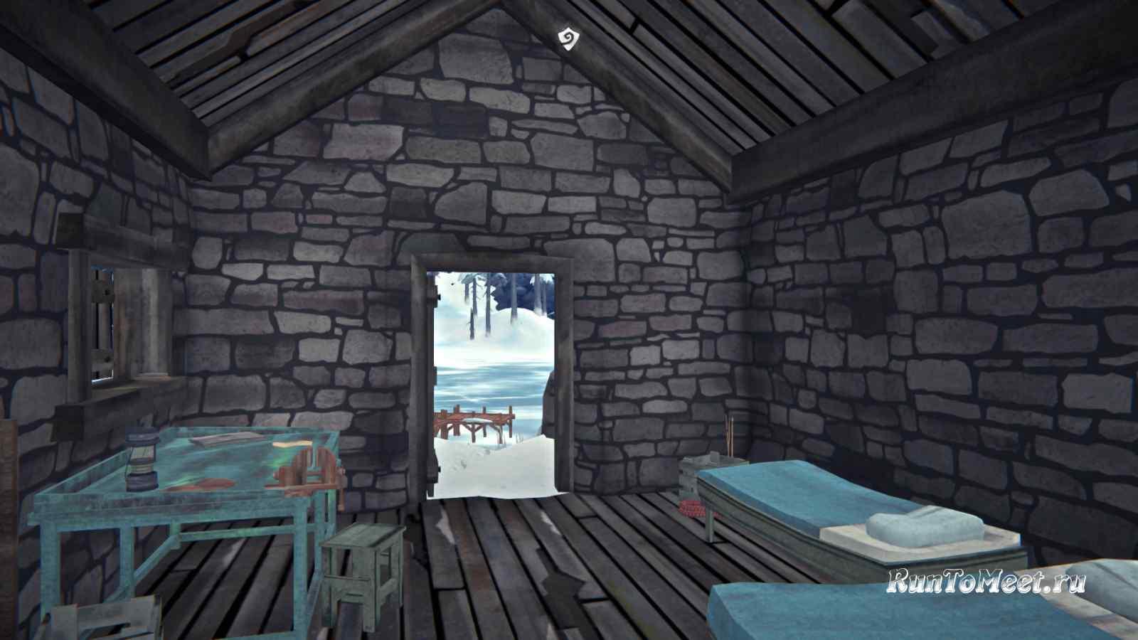 Внутри хижины альпиниста на Волчьей горе, в игре The long dark