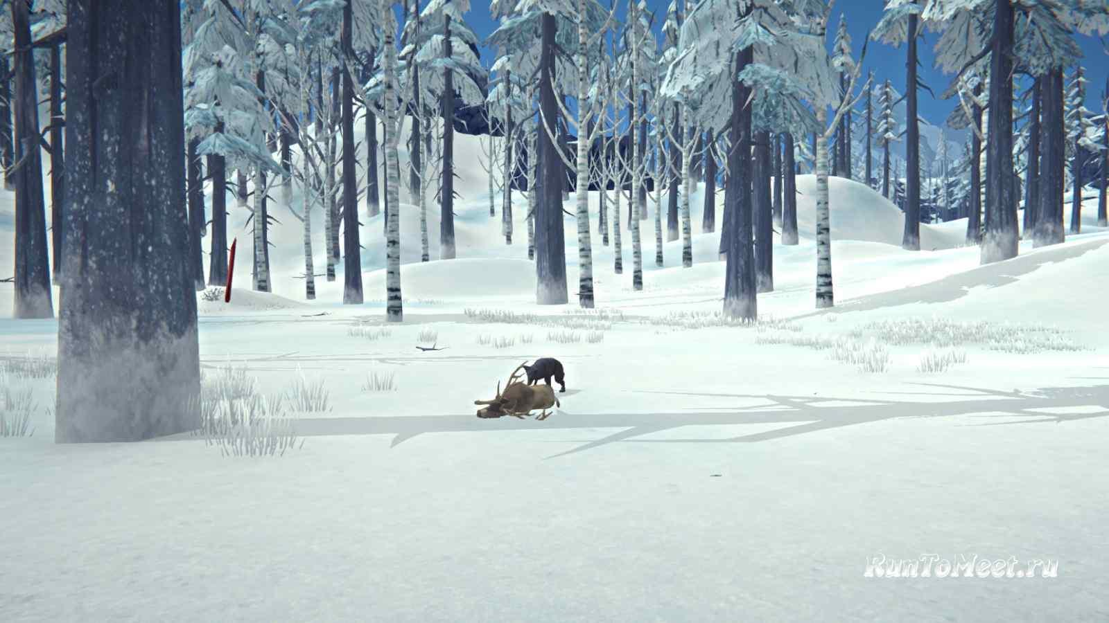 Волк поедает оленя на Волчьей горе, в игре The long dark