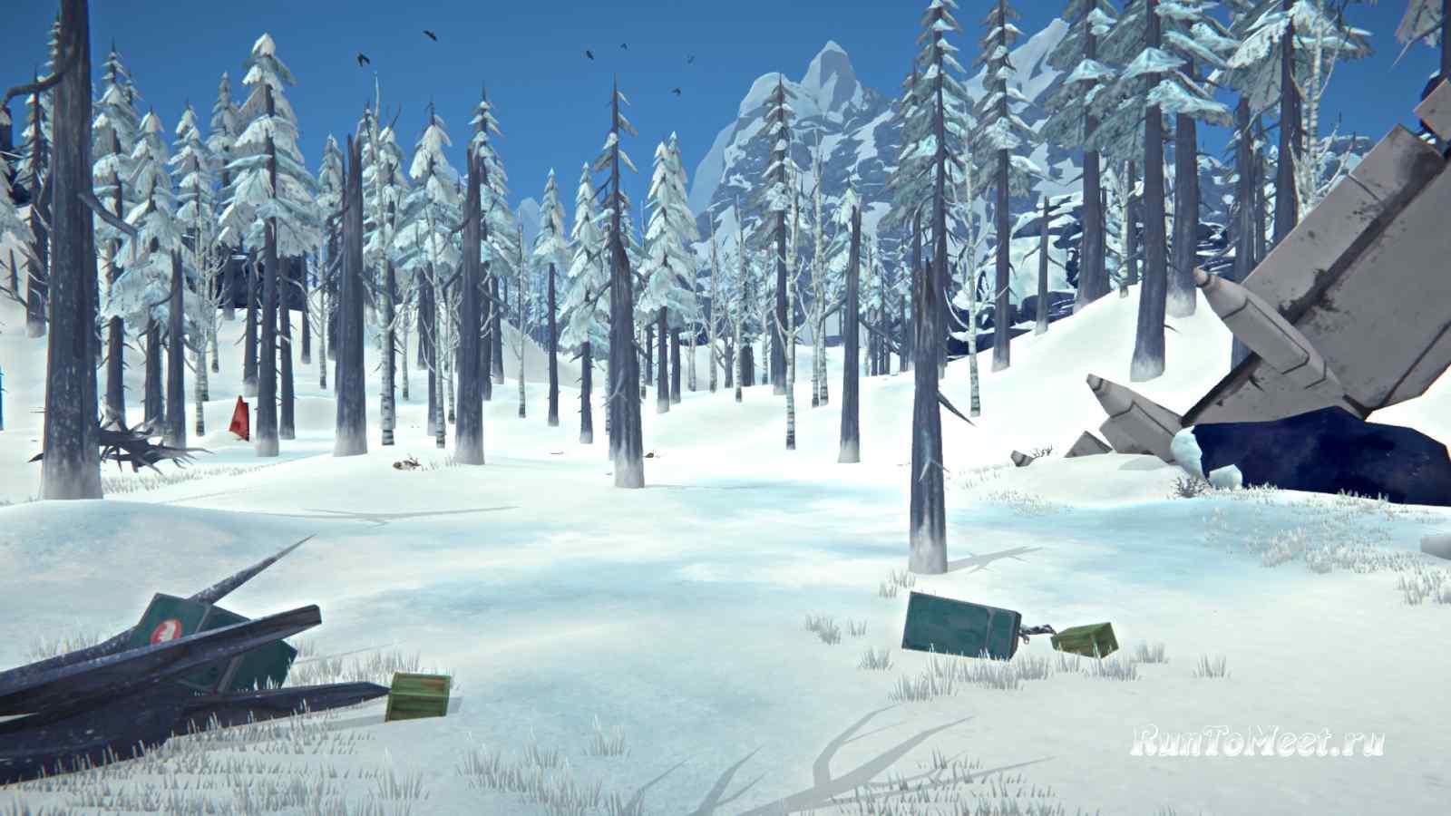 Контейнеры рядом с крылом самолета на Волчьей горе, в игре The long dark