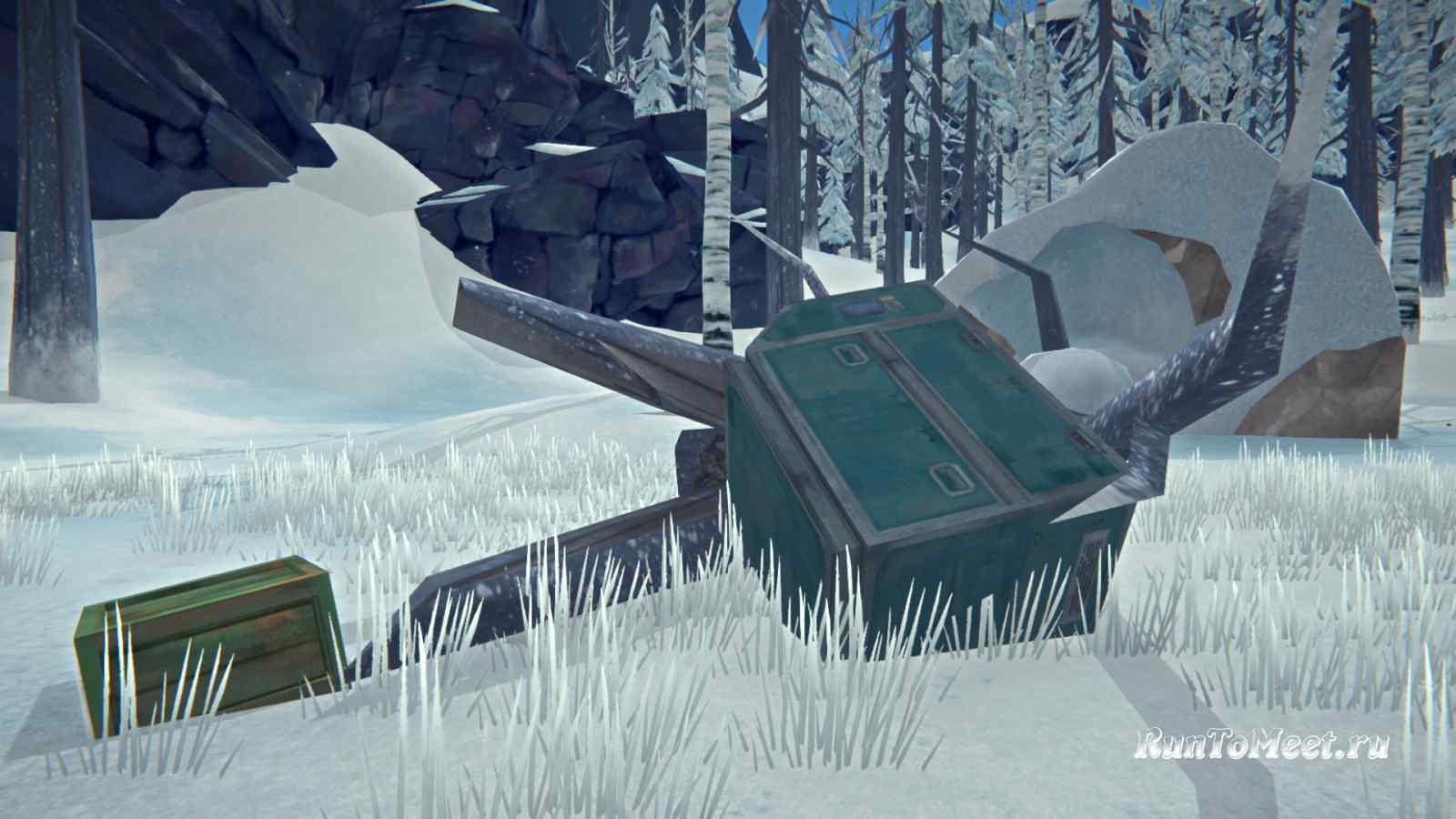 Второй контейнер возле крыла самолета на Волчьей горе, в игре The long dark