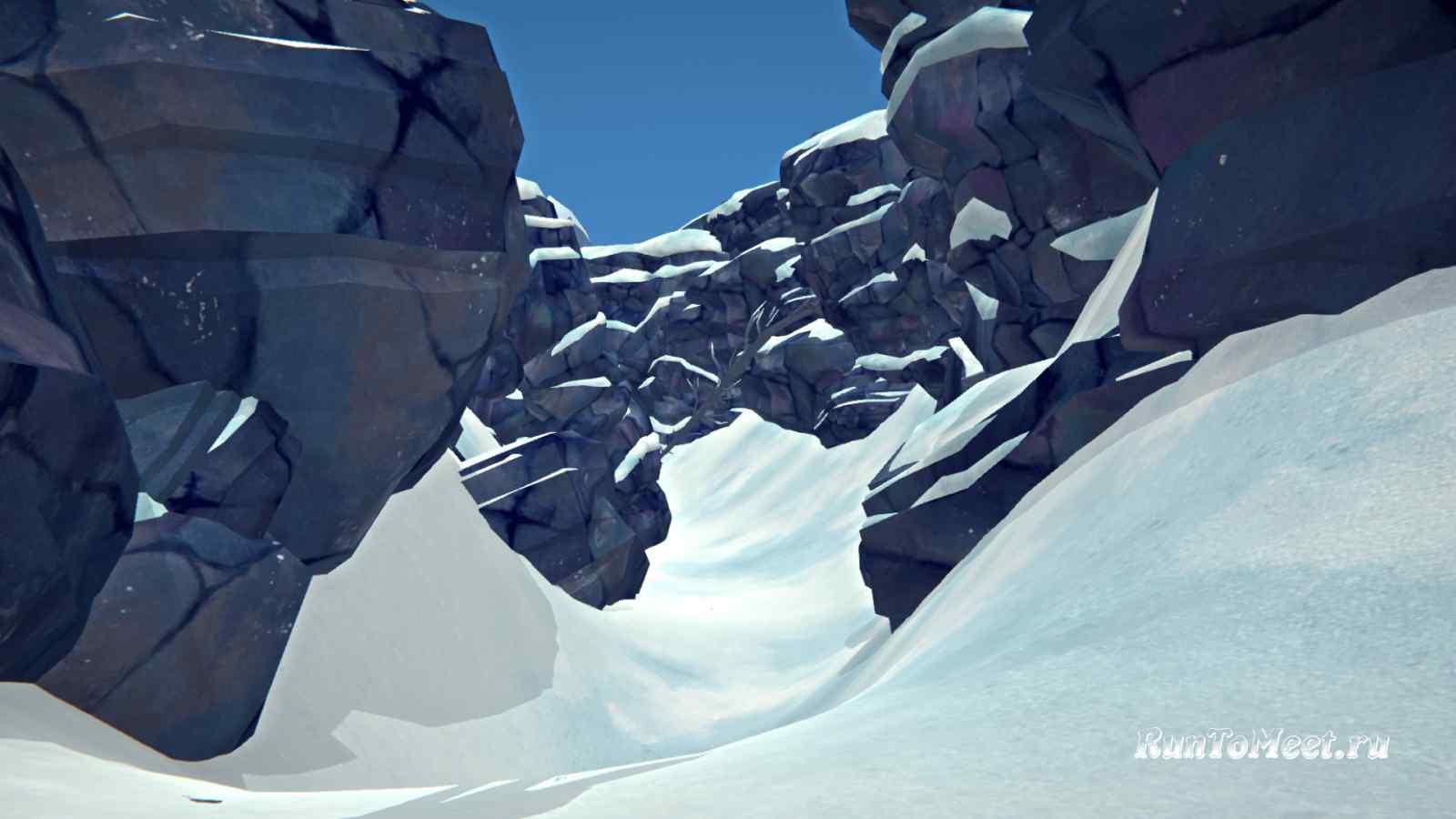 Переход с Волчьей горы в сторону Отрадной долины, в игре The long dark