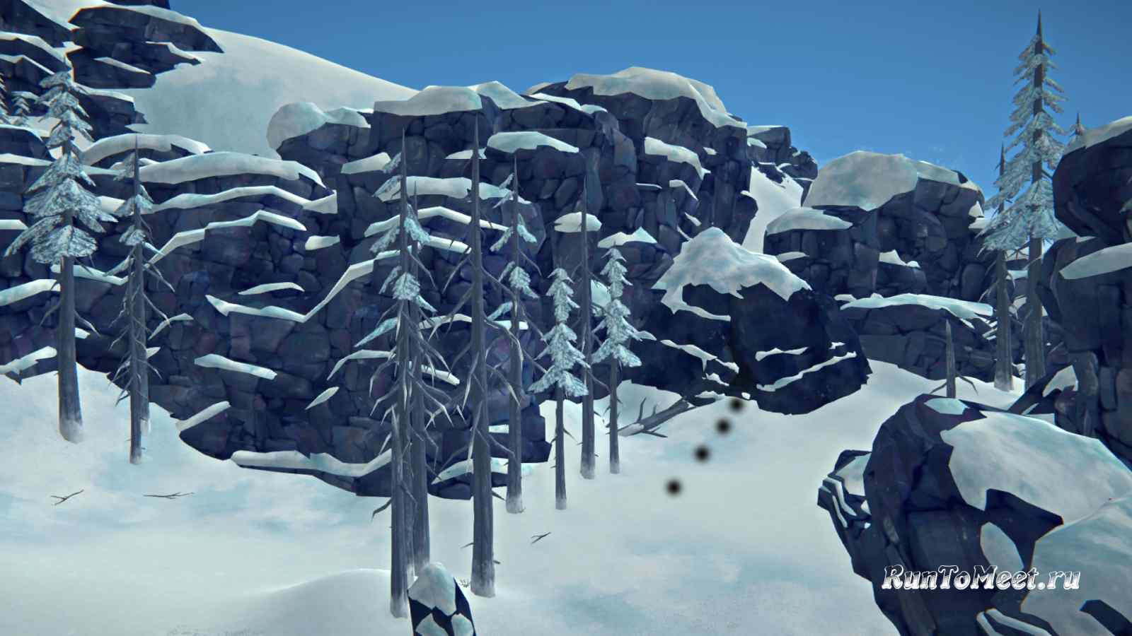 Переход в Пепельный каньон с поляны Оленей, в игре The long dark